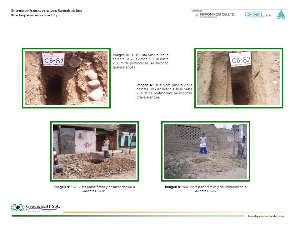 Mejoramiento Sanitario de las Áreas Marginales de Lima Obras Complementarias a Lotes 1, 2 y 3 Investigaciones Geotécnicas Imagen N° 164: Vista panorámica y de ubicación de la Calicata CB-82.