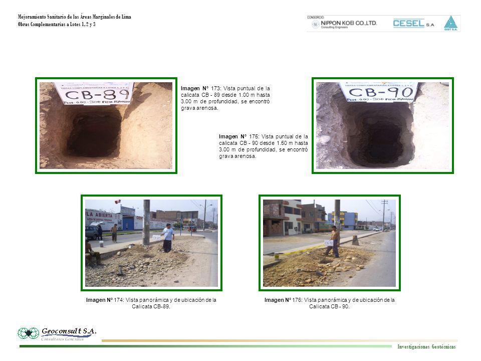 Mejoramiento Sanitario de las Áreas Marginales de Lima Obras Complementarias a Lotes 1, 2 y 3 Investigaciones Geotécnicas Imagen N° 176: Vista panorámica y de ubicación de la Calicata CB - 90.