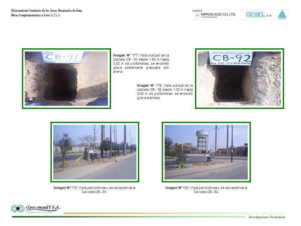 Mejoramiento Sanitario de las Áreas Marginales de Lima Obras Complementarias a Lotes 1, 2 y 3 Investigaciones Geotécnicas Imagen N° 180: Vista panorámica y de ubicación de la Calicata CB - 92.