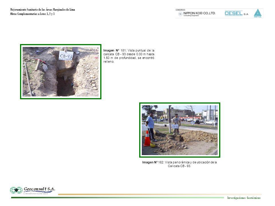 Mejoramiento Sanitario de las Áreas Marginales de Lima Obras Complementarias a Lotes 1, 2 y 3 Investigaciones Geotécnicas Imagen N° 182: Vista panorám
