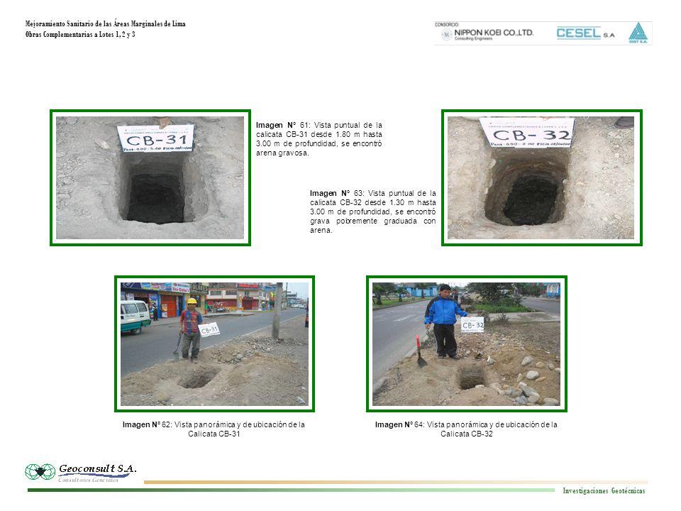 Mejoramiento Sanitario de las Áreas Marginales de Lima Obras Complementarias a Lotes 1, 2 y 3 Investigaciones Geotécnicas Imagen N° 64: Vista panorámi