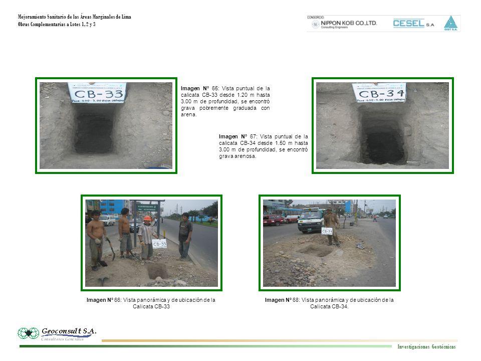 Mejoramiento Sanitario de las Áreas Marginales de Lima Obras Complementarias a Lotes 1, 2 y 3 Investigaciones Geotécnicas Imagen N° 68: Vista panorámica y de ubicación de la Calicata CB-34.
