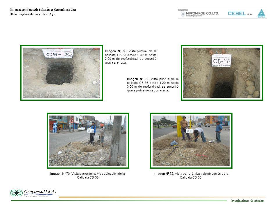 Mejoramiento Sanitario de las Áreas Marginales de Lima Obras Complementarias a Lotes 1, 2 y 3 Investigaciones Geotécnicas Imagen N° 72: Vista panorámica y de ubicación de la Calicata CB-36.