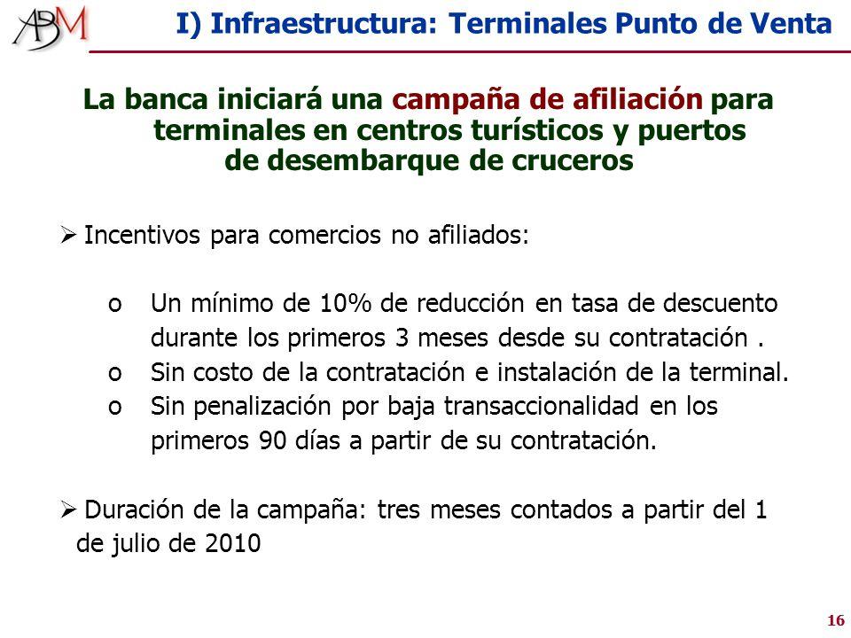 16 I) Infraestructura: Terminales Punto de Venta Incentivos para comercios no afiliados: oUn mínimo de 10% de reducción en tasa de descuento durante los primeros 3 meses desde su contratación.