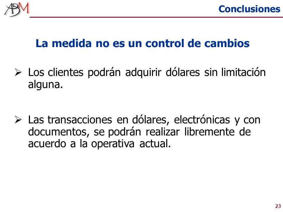 23 La medida no es un control de cambios Los clientes podrán adquirir dólares sin limitación alguna.