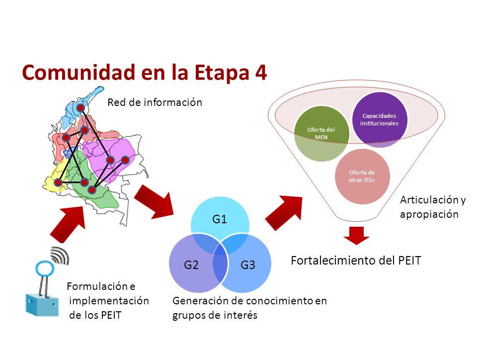 Comunidad en la Etapa 4 Generación de conocimiento en grupos de interés Red de información G1 G3G2 Formulación e implementación de los PEIT Fortalecimiento del PEIT Oferta de otras IES+ Oferta del MEN Capacidades institucionales Articulación y apropiación
