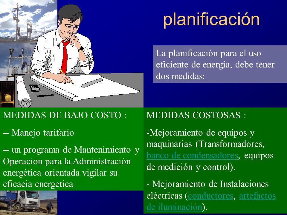 La planificación para el uso eficiente de energía, debe tener dos medidas: MEDIDAS DE BAJO COSTO : -- Manejo tarifario -- un programa de Mantenimiento