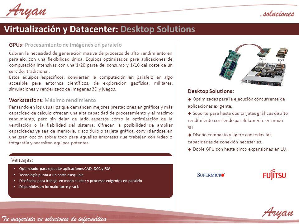 Virtualización y Datacenter: Desktop Solutions GPUs: Procesamiento de imágenes en paralelo Cubren la necesidad de generación masiva de procesos de alt
