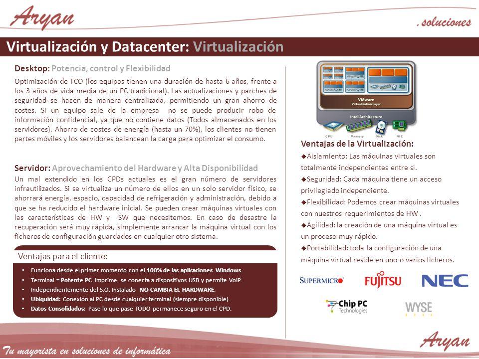 Virtualización y Datacenter: Virtualización Desktop: Potencia, control y Flexibilidad Optimización de TCO (los equipos tienen una duración de hasta 6