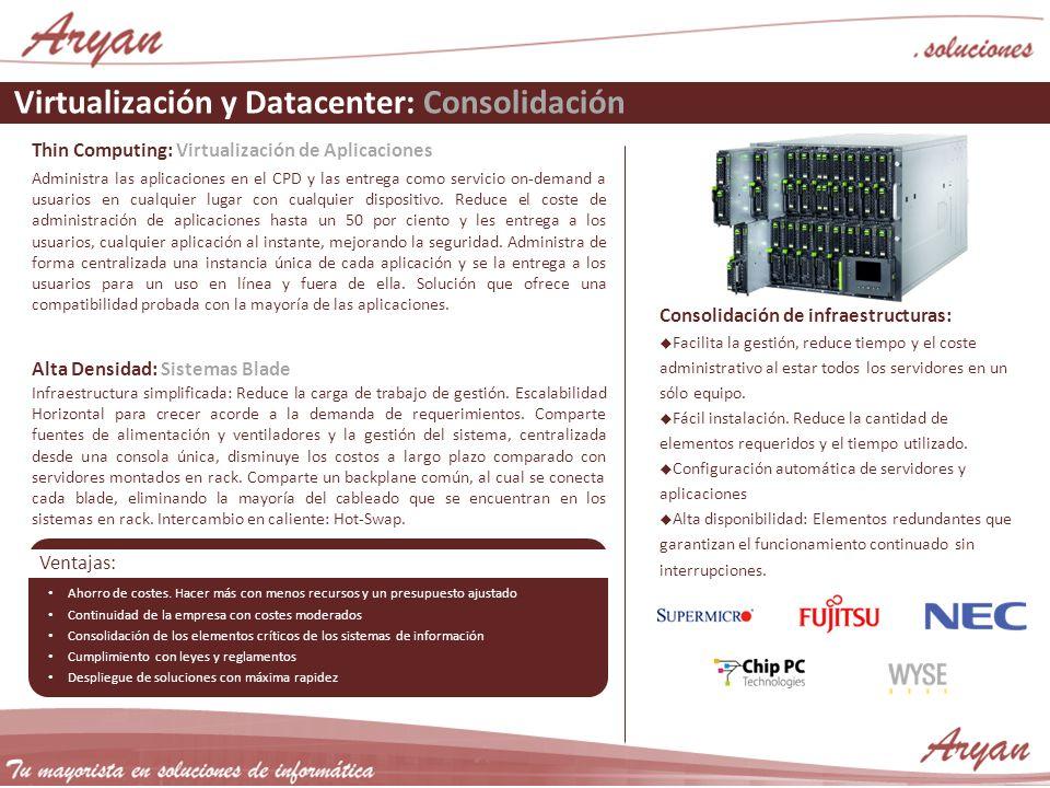 Virtualización y Datacenter: Consolidación Thin Computing: Virtualización de Aplicaciones Administra las aplicaciones en el CPD y las entrega como ser