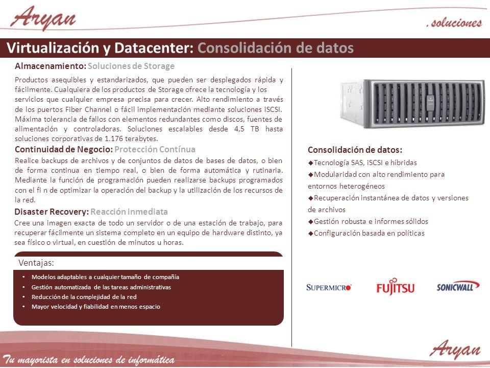 Virtualización y Datacenter: Consolidación de datos Almacenamiento: Soluciones de Storage Productos asequibles y estandarizados, que pueden ser desple