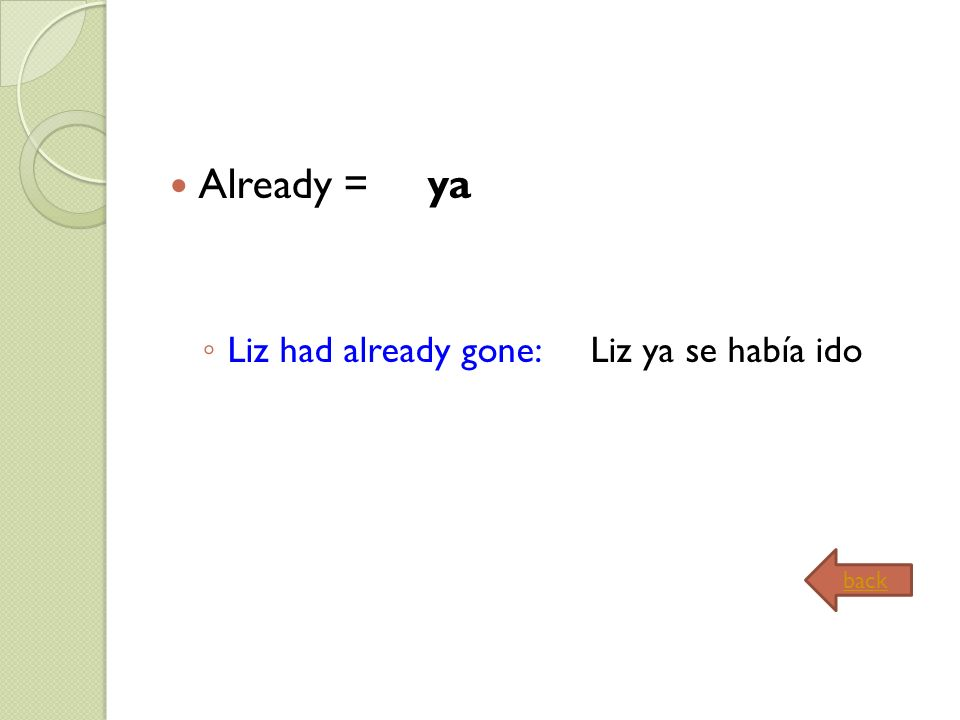 Already = ya Liz had already gone: Liz ya se había ido back