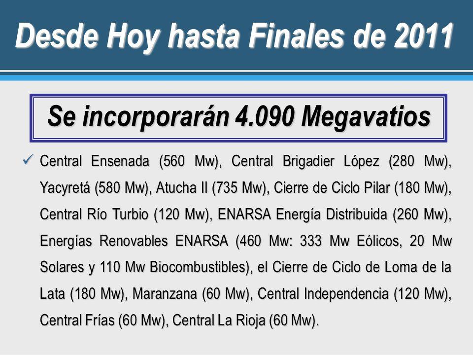 Desde Hoy hasta Finales de 2011 Se incorporarán 4.090 Megavatios Central Ensenada (560 Mw), Central Brigadier López (280 Mw), Yacyretá (580 Mw), Atucha II (735 Mw), Cierre de Ciclo Pilar (180 Mw), Central Río Turbio (120 Mw), ENARSA Energía Distribuida (260 Mw), Energías Renovables ENARSA (460 Mw: 333 Mw Eólicos, 20 Mw Solares y 110 Mw Biocombustibles), el Cierre de Ciclo de Loma de la Lata (180 Mw), Maranzana (60 Mw), Central Independencia (120 Mw), Central Frías (60 Mw), Central La Rioja (60 Mw).