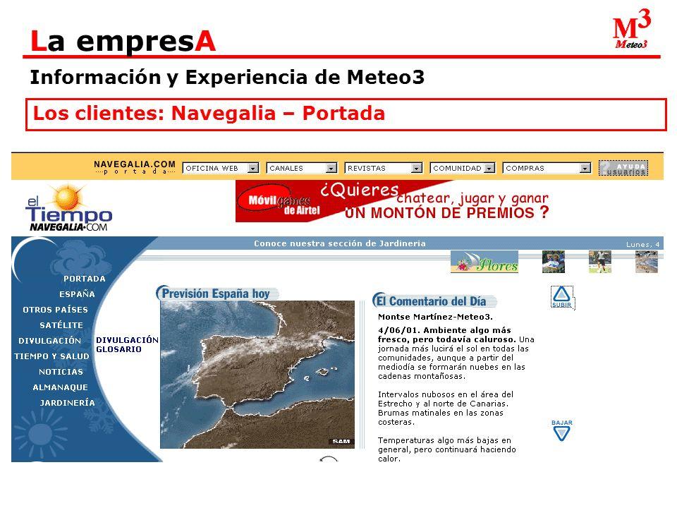 Información y Experiencia de Meteo3 La empresA Los clientes: Navegalia – Portada