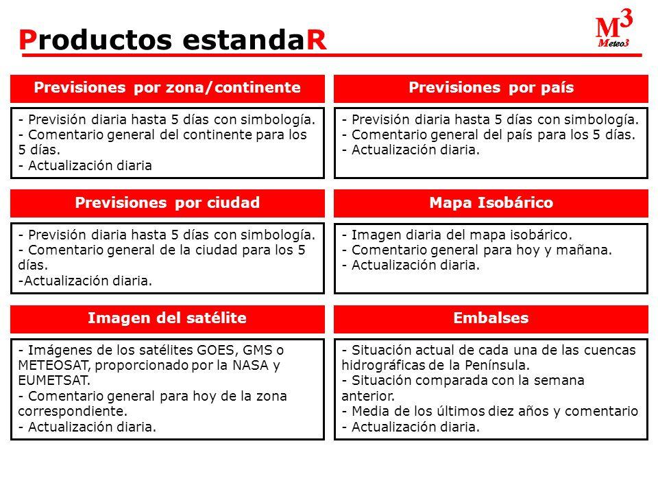 Productos estandaR Previsiones por zona/continente - Previsión diaria hasta 5 días con simbología.