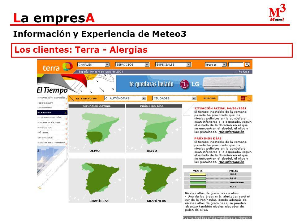Información y Experiencia de Meteo3 La empresA Los clientes: Terra – Salud y Clima