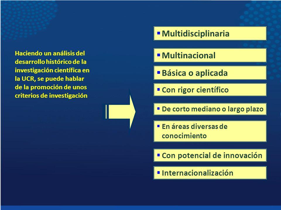 Haciendo un análisis del desarrollo histórico de la investigación científica en la UCR, se puede hablar de la promoción de unos criterios de investiga