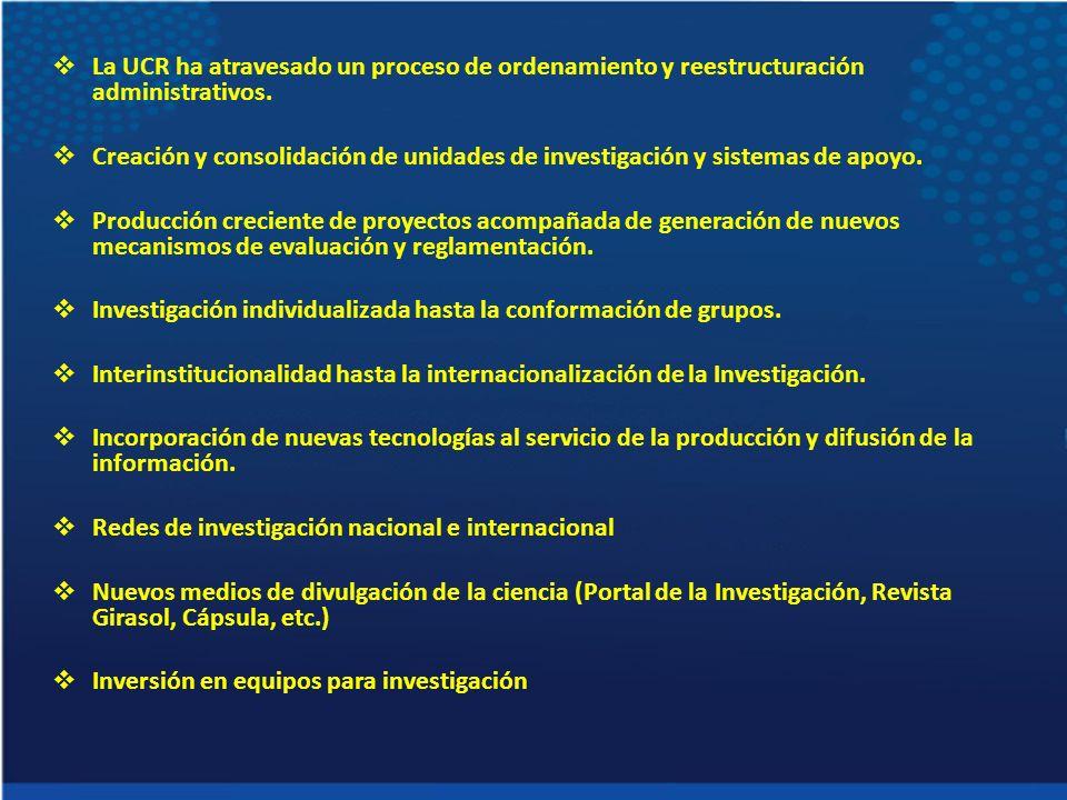 La UCR ha atravesado un proceso de ordenamiento y reestructuración administrativos. Creación y consolidación de unidades de investigación y sistemas d