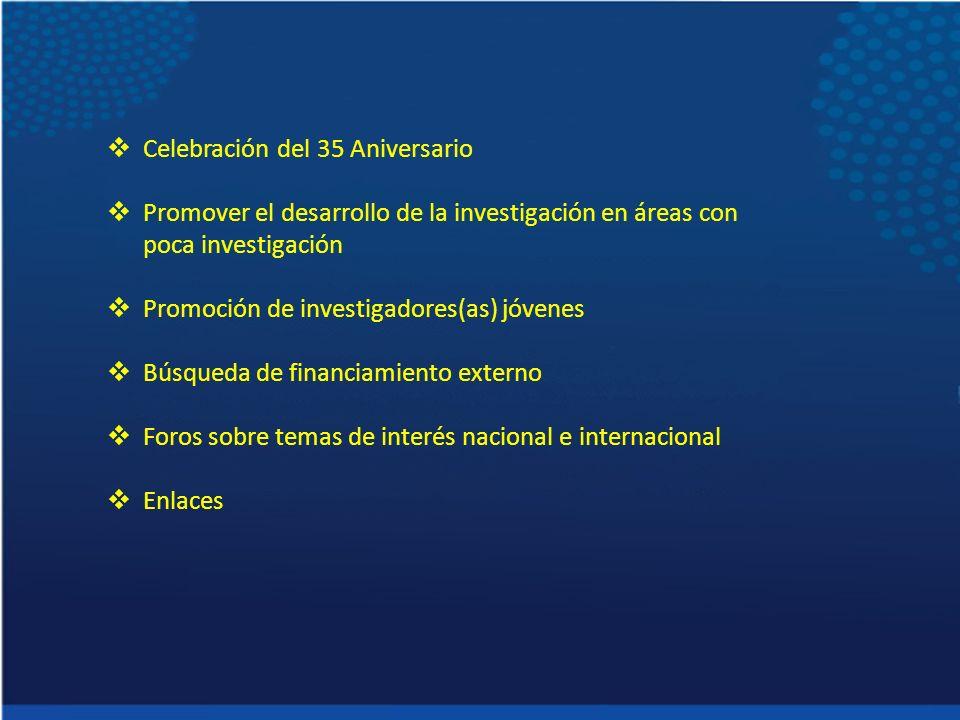 Celebración del 35 Aniversario Promover el desarrollo de la investigación en áreas con poca investigación Promoción de investigadores(as) jóvenes Búsqueda de financiamiento externo Foros sobre temas de interés nacional e internacional Enlaces