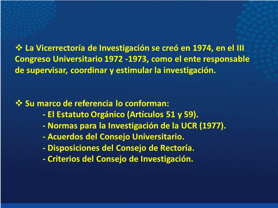 La Vicerrectoría de Investigación se creó en 1974, en el III Congreso Universitario 1972 -1973, como el ente responsable de supervisar, coordinar y es