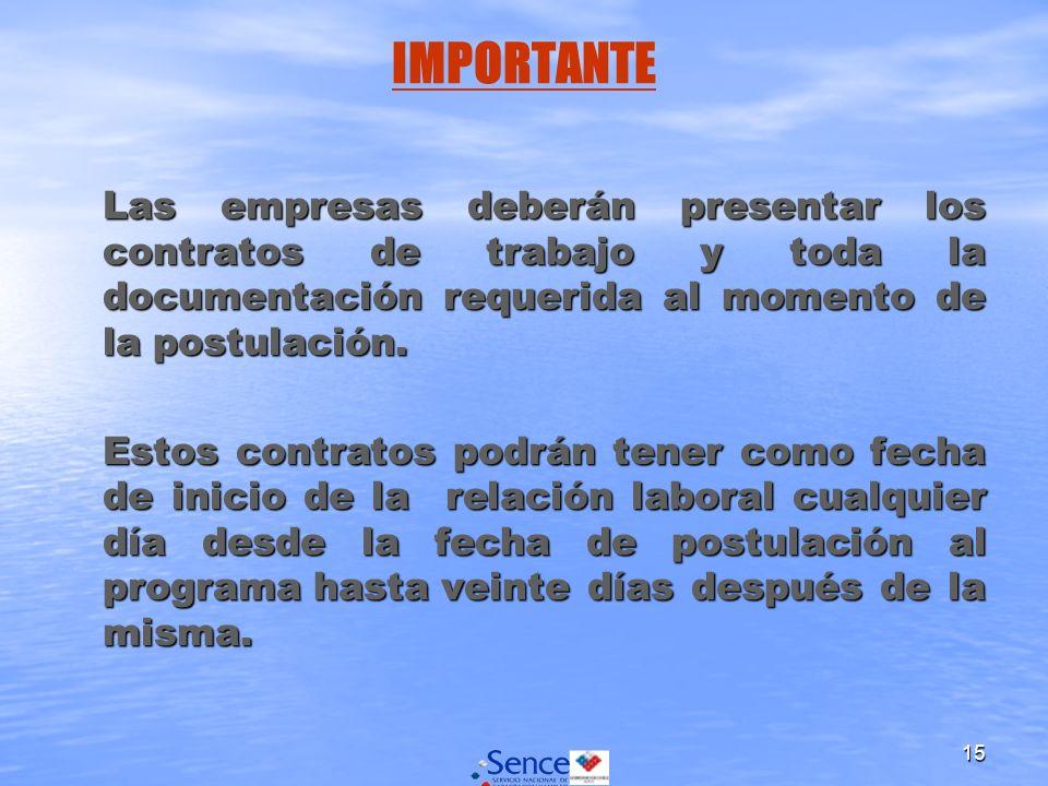 15 Las empresas deberán presentar los contratos de trabajo y toda la documentación requerida al momento de la postulación.