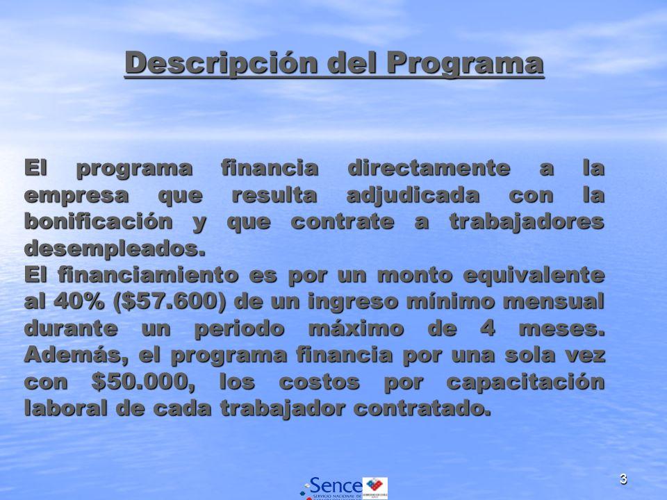 3 Descripción del Programa El programa financia directamente a la empresa que resulta adjudicada con la bonificación y que contrate a trabajadores desempleados.