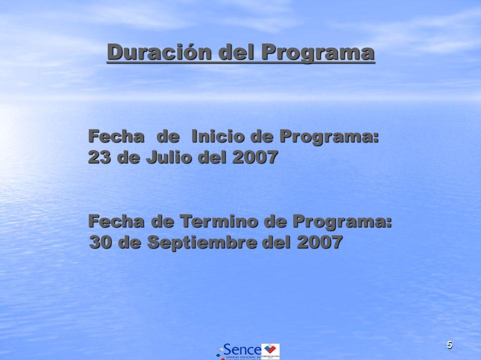 5 Duración del Programa Fecha de Inicio de Programa: 23 de Julio del 2007 Fecha de Inicio de Programa: 23 de Julio del 2007 Fecha de Termino de Programa: Fecha de Termino de Programa: 30 de Septiembre del 2007 30 de Septiembre del 2007