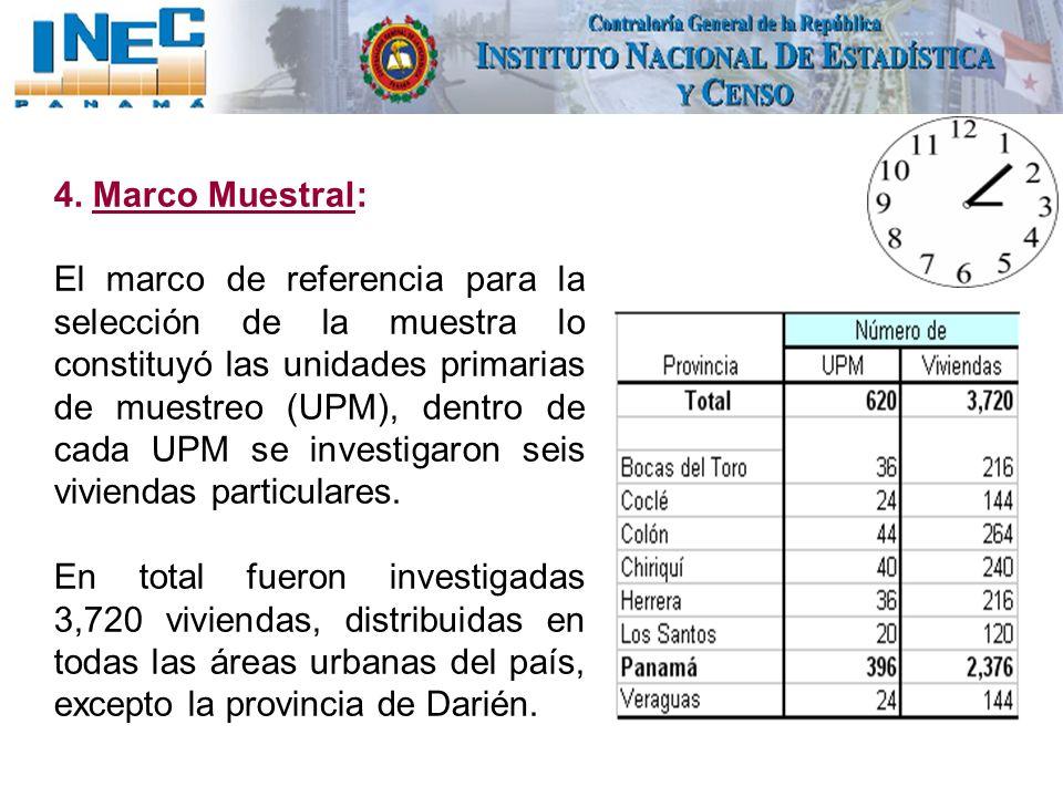 4. Marco Muestral: El marco de referencia para la selección de la muestra lo constituyó las unidades primarias de muestreo (UPM), dentro de cada UPM s
