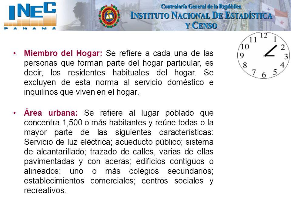 Miembro del Hogar: Se refiere a cada una de las personas que forman parte del hogar particular, es decir, los residentes habituales del hogar. Se excl