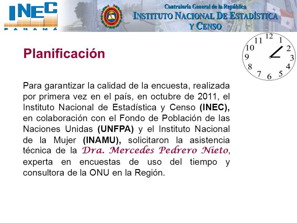 Planificación Para garantizar la calidad de la encuesta, realizada por primera vez en el país, en octubre de 2011, el Instituto Nacional de Estadístic
