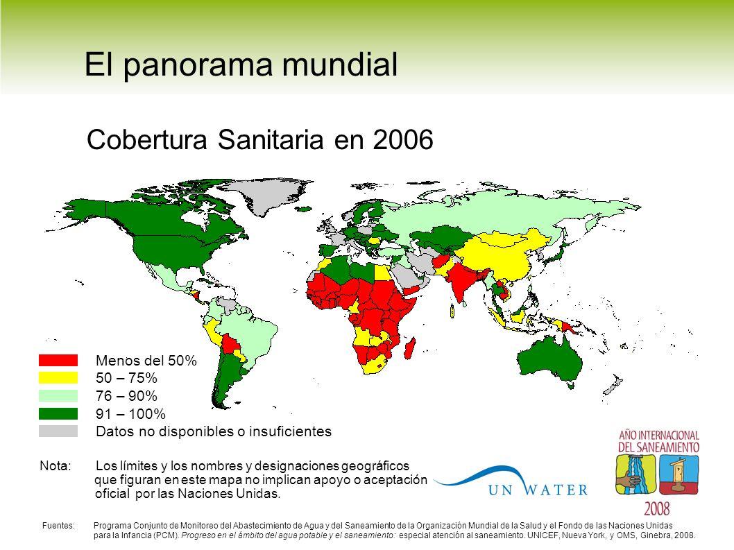 El panorama mundial Cobertura Sanitaria en 2006 Menos del 50% 50 – 75% 76 – 90% 91 – 100% Datos no disponibles o insuficientes Nota: Los límites y los nombres y designaciones geográficos que figuran en este mapa no implican apoyo o aceptación oficial por las Naciones Unidas.
