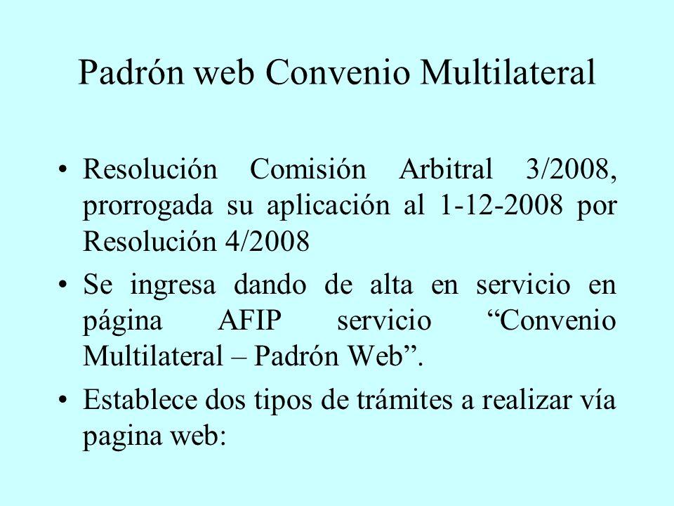 Padrón web Convenio Multilateral Resolución Comisión Arbitral 3/2008, prorrogada su aplicación al 1-12-2008 por Resolución 4/2008 Se ingresa dando de alta en servicio en página AFIP servicio Convenio Multilateral – Padrón Web.