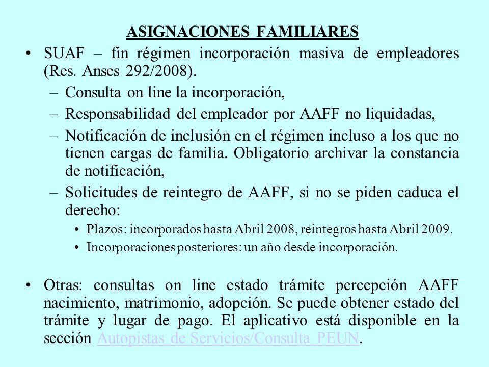 ASIGNACIONES FAMILIARES SUAF – fin régimen incorporación masiva de empleadores (Res.