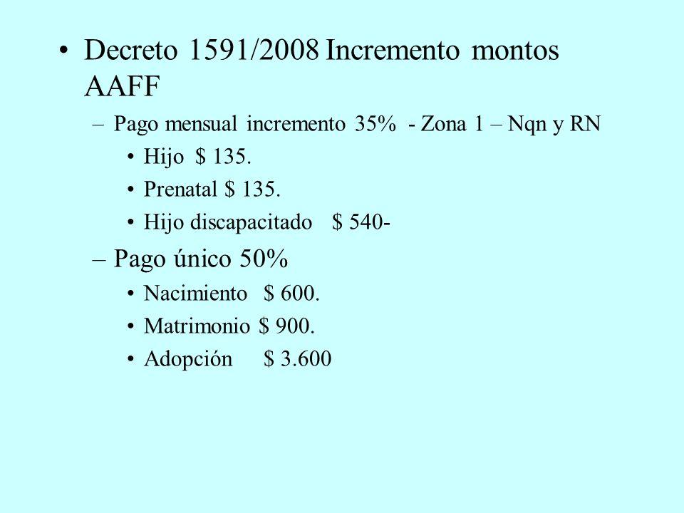 Decreto 1591/2008 Incremento montos AAFF –Pago mensual incremento 35% - Zona 1 – Nqn y RN Hijo$ 135.