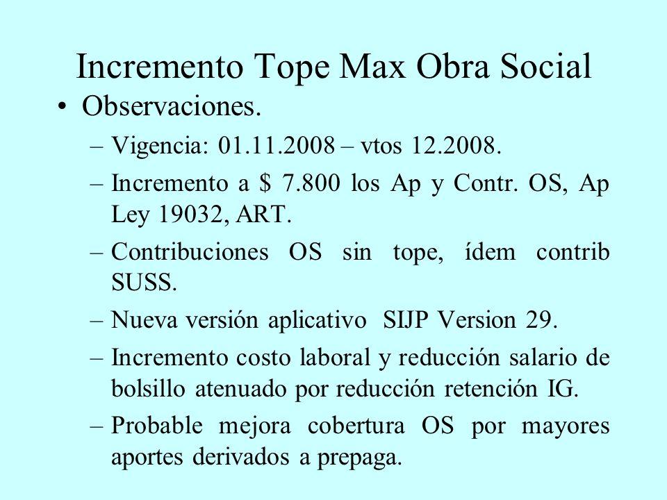 Incremento Tope Max Obra Social Observaciones. –Vigencia: 01.11.2008 – vtos 12.2008.