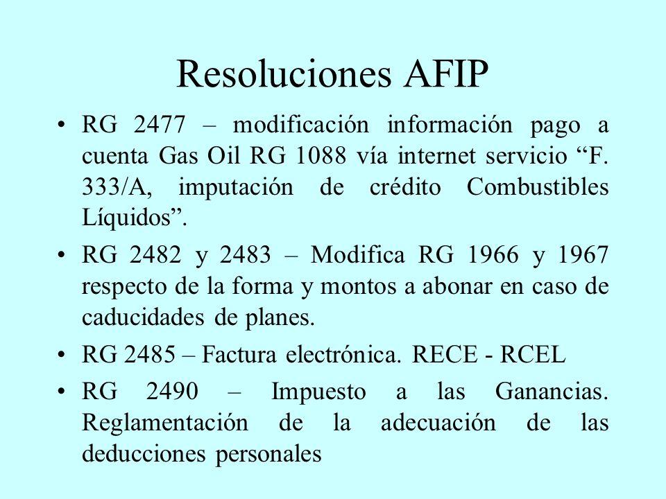 Resoluciones AFIP RG 2477 – modificación información pago a cuenta Gas Oil RG 1088 vía internet servicio F.
