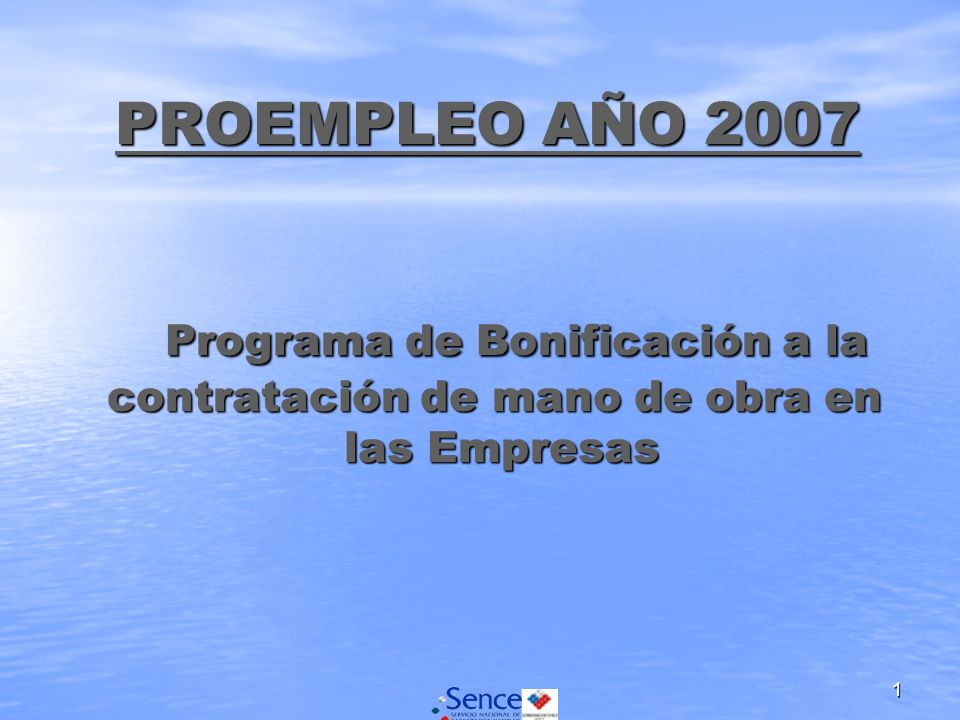 1 PROEMPLEO AÑO 2007 Programa de Bonificación a la contratación de mano de obra en las Empresas PROEMPLEO AÑO 2007 Programa de Bonificación a la contratación de mano de obra en las Empresas
