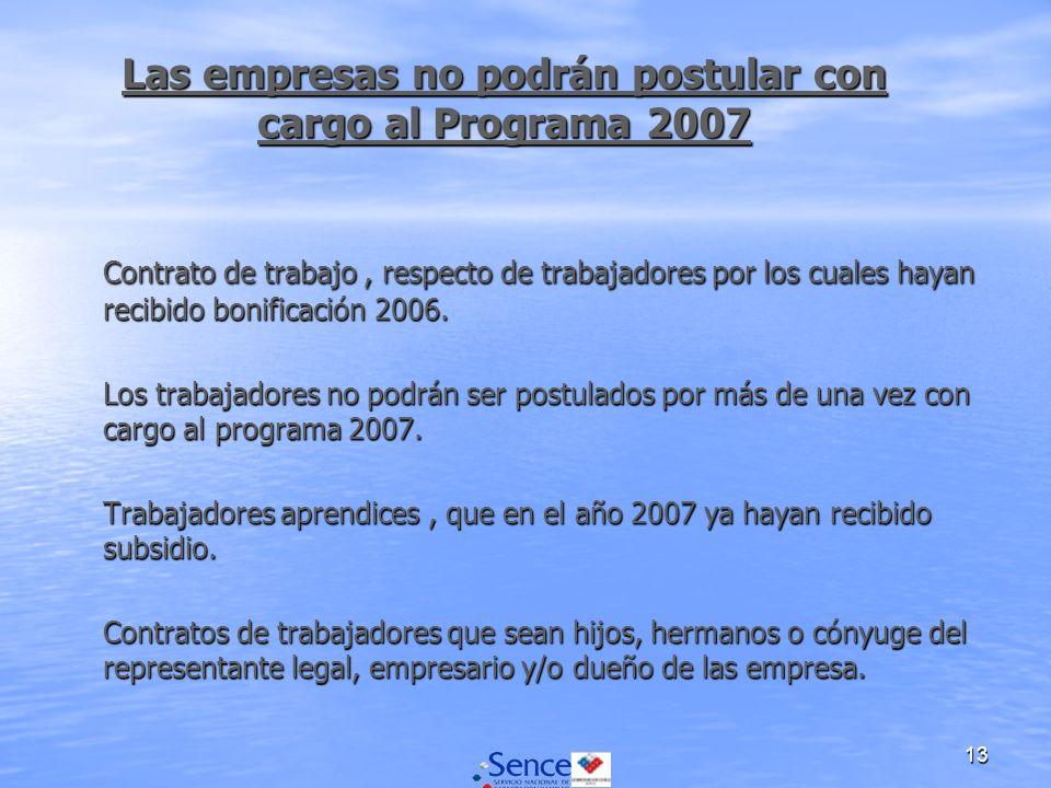 13 Las empresas no podrán postular con cargo al Programa 2007 Contrato de trabajo, respecto de trabajadores por los cuales hayan recibido bonificación 2006.