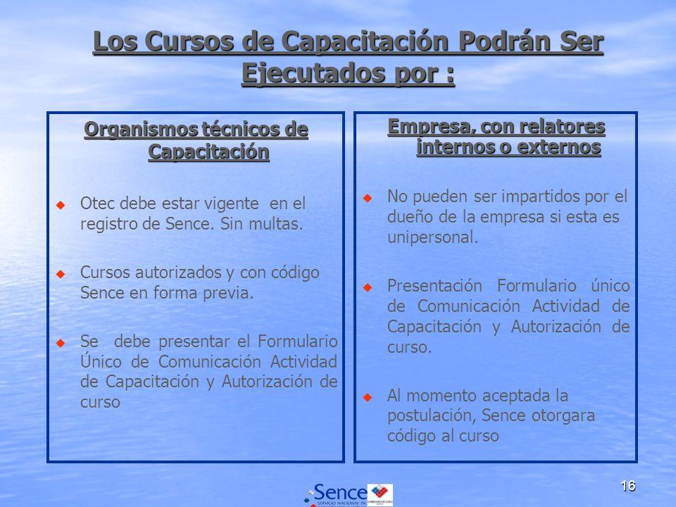 16 Los Cursos de Capacitación Podrán Ser Ejecutados por : Organismos técnicos de Capacitación u u Otec debe estar vigente en el registro de Sence.
