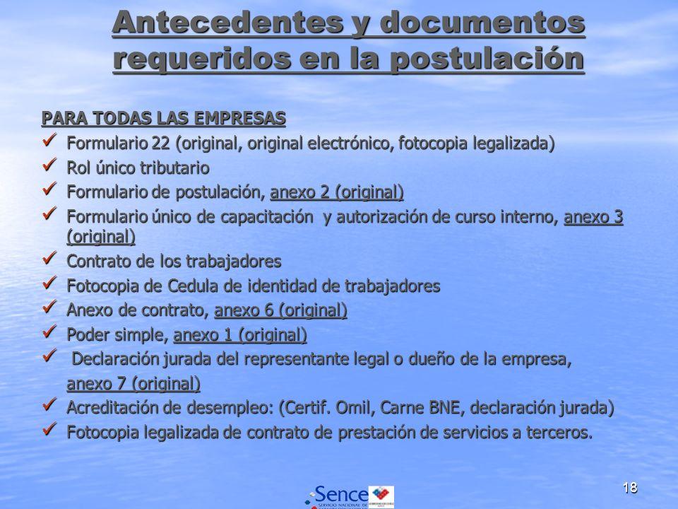 18 PARA TODAS LAS EMPRESAS Formulario 22 (original, original electrónico, fotocopia legalizada) Formulario 22 (original, original electrónico, fotocop