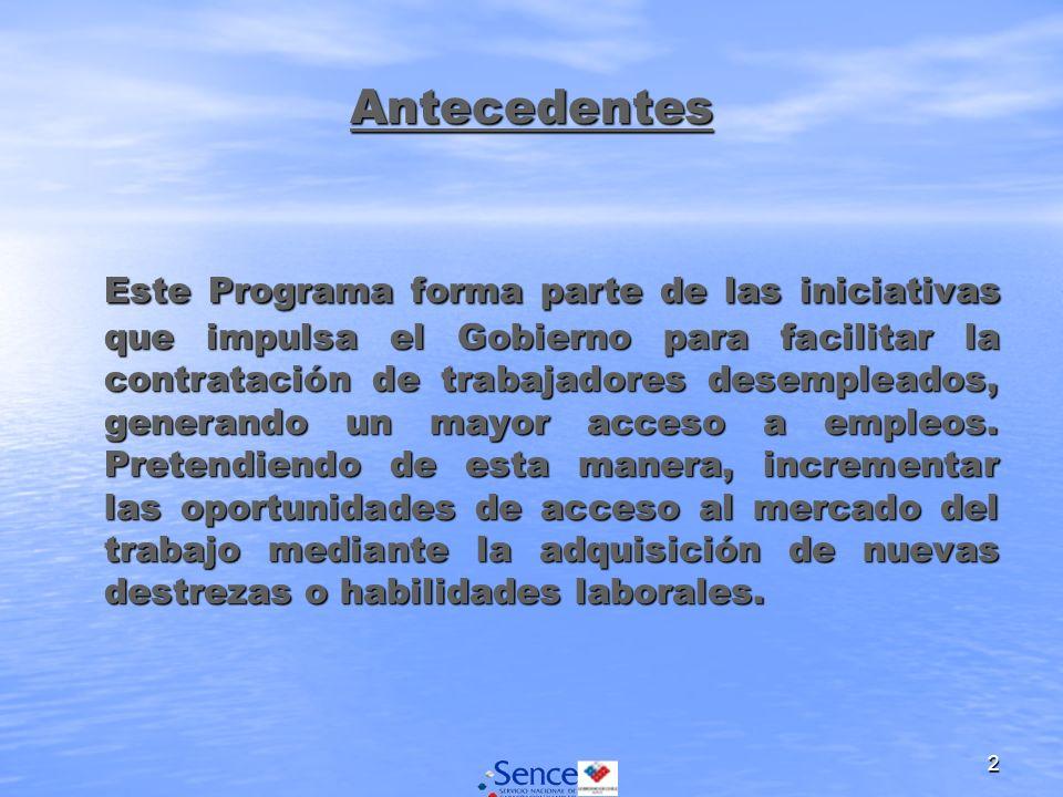 2 Antecedentes Este Programa forma parte de las iniciativas que impulsa el Gobierno para facilitar la contratación de trabajadores desempleados, gener