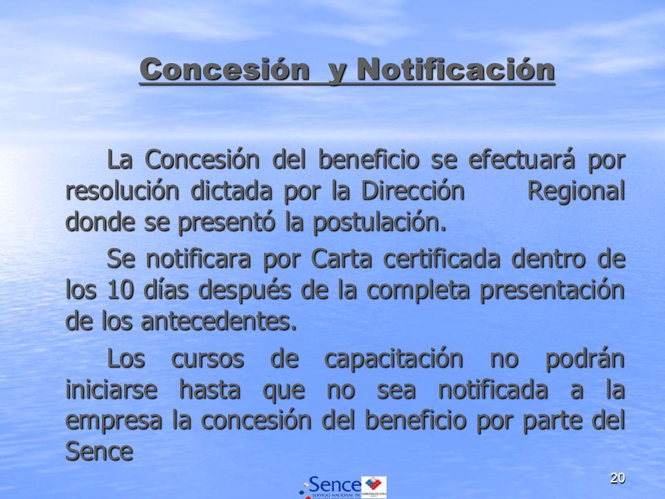 20 La Concesión del beneficio se efectuará por resolución dictada por la Dirección Regional donde se presentó la postulación. Se notificara por Carta