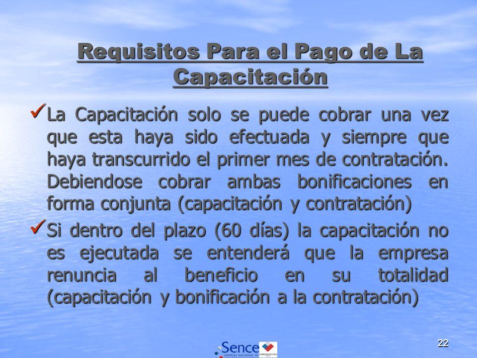 22 La Capacitación solo se puede cobrar una vez que esta haya sido efectuada y siempre que haya transcurrido el primer mes de contratación.