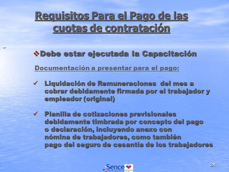 24 Requisitos Para el Pago de las cuotas de contratación - Debe estar ejecutada la Capacitación Debe estar ejecutada la Capacitación Documentación a p