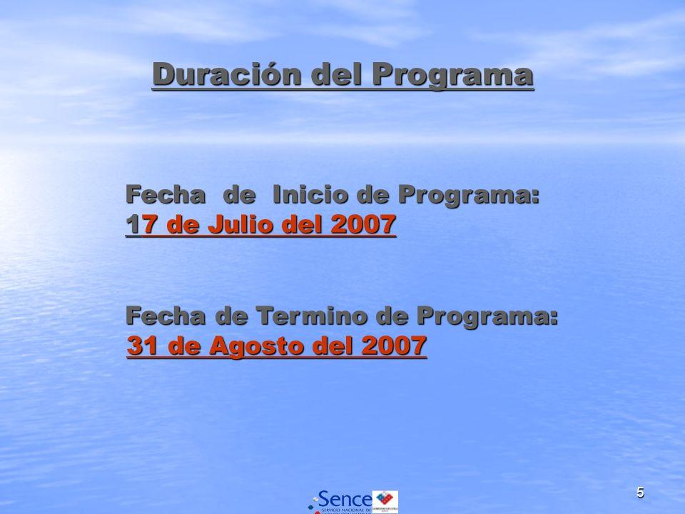 5 Duración del Programa Fecha de Inicio de Programa: 17 de Julio del 2007 Fecha de Inicio de Programa: 17 de Julio del 2007 Fecha de Termino de Progra