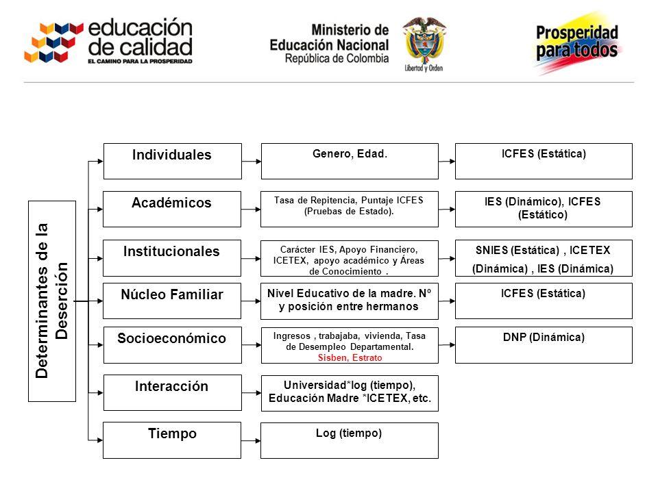 Individuales Académicos Institucionales Núcleo Familiar Socioeconómico Interacción Tiempo Determinantes de la Deserción Genero, Edad.