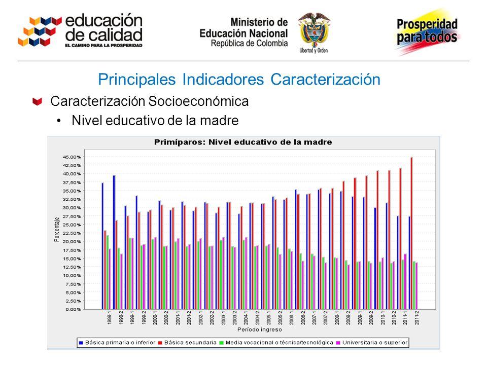 Principales Indicadores Caracterización Caracterización Socioeconómica Nivel educativo de la madre