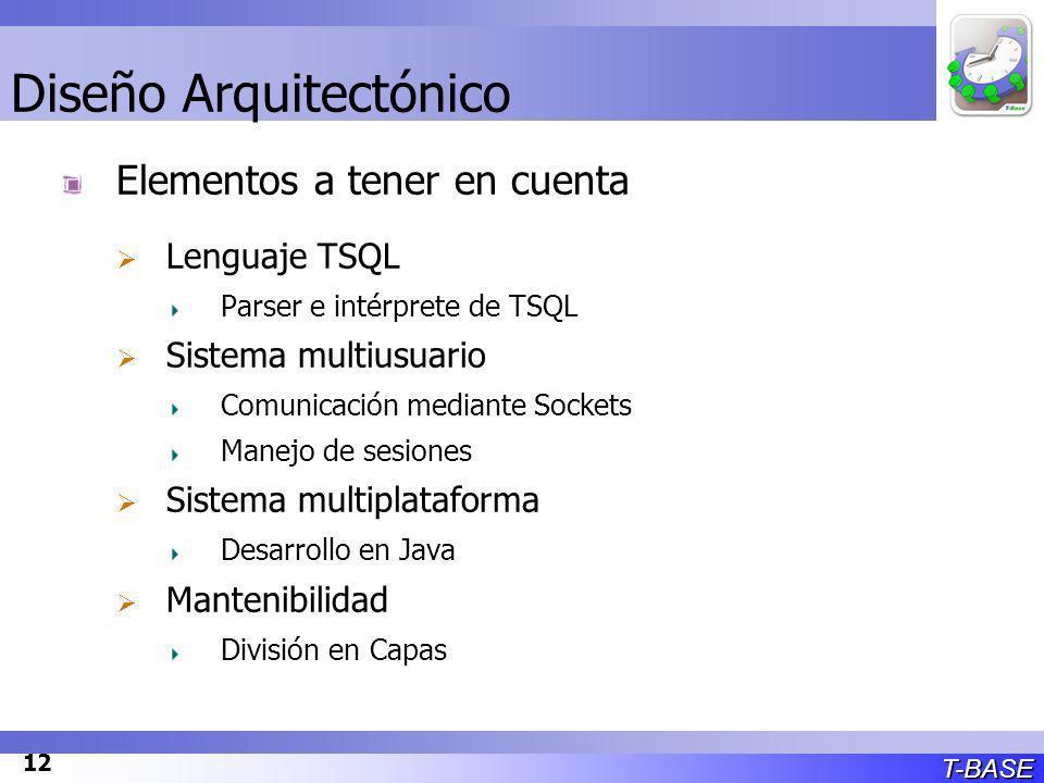 T-BASE 12 Diseño Arquitectónico Elementos a tener en cuenta Lenguaje TSQL Parser e intérprete de TSQL Sistema multiusuario Comunicación mediante Sockets Manejo de sesiones Sistema multiplataforma Desarrollo en Java Mantenibilidad División en Capas