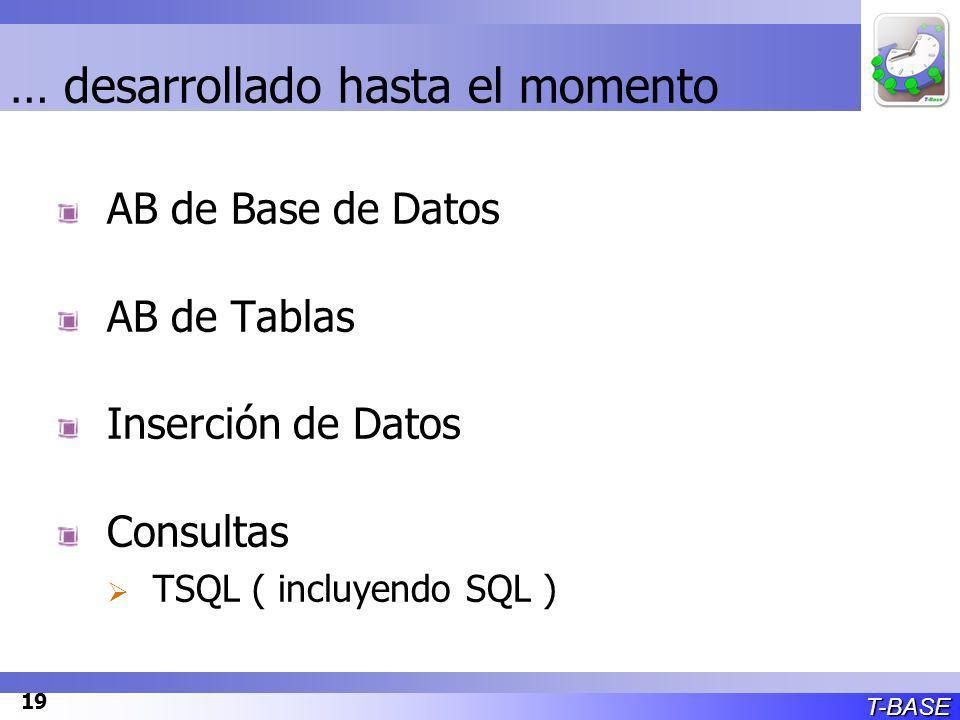 T-BASE 19 … desarrollado hasta el momento AB de Base de Datos AB de Tablas Inserción de Datos Consultas TSQL ( incluyendo SQL )