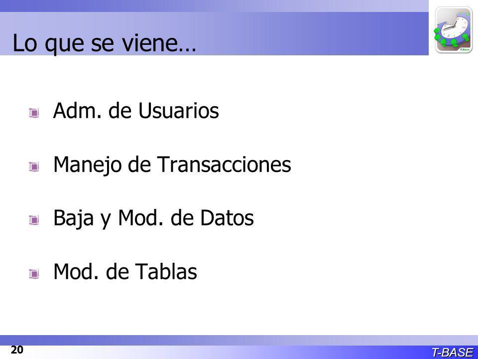 T-BASE 20 Lo que se viene… Adm. de Usuarios Manejo de Transacciones Baja y Mod.